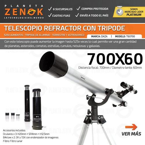 telescopio refractor tripode ocular lente estrellas planetas terrestre cielo