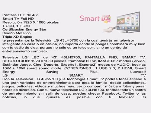 televisión led  lg de 43''  smart tv