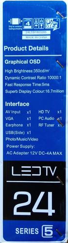 televisor led 21, hdmi, rca/av usb, vga 220v/12v tv portatil