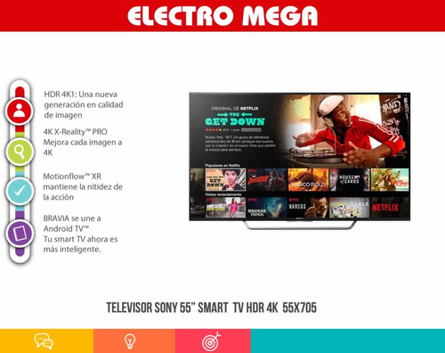 televisor sony 55 smart android - tv hdr 4k  55x705