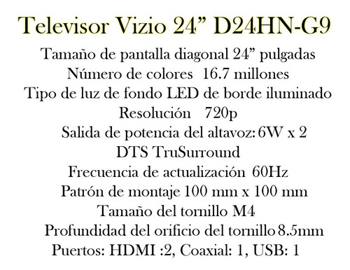 televisor vizio led 24 pulgadas hdmi vga nuevo bagc