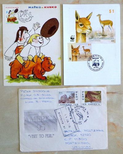 tema fauna, lote 2 tarjetas y 1 sobre temáticos l8115