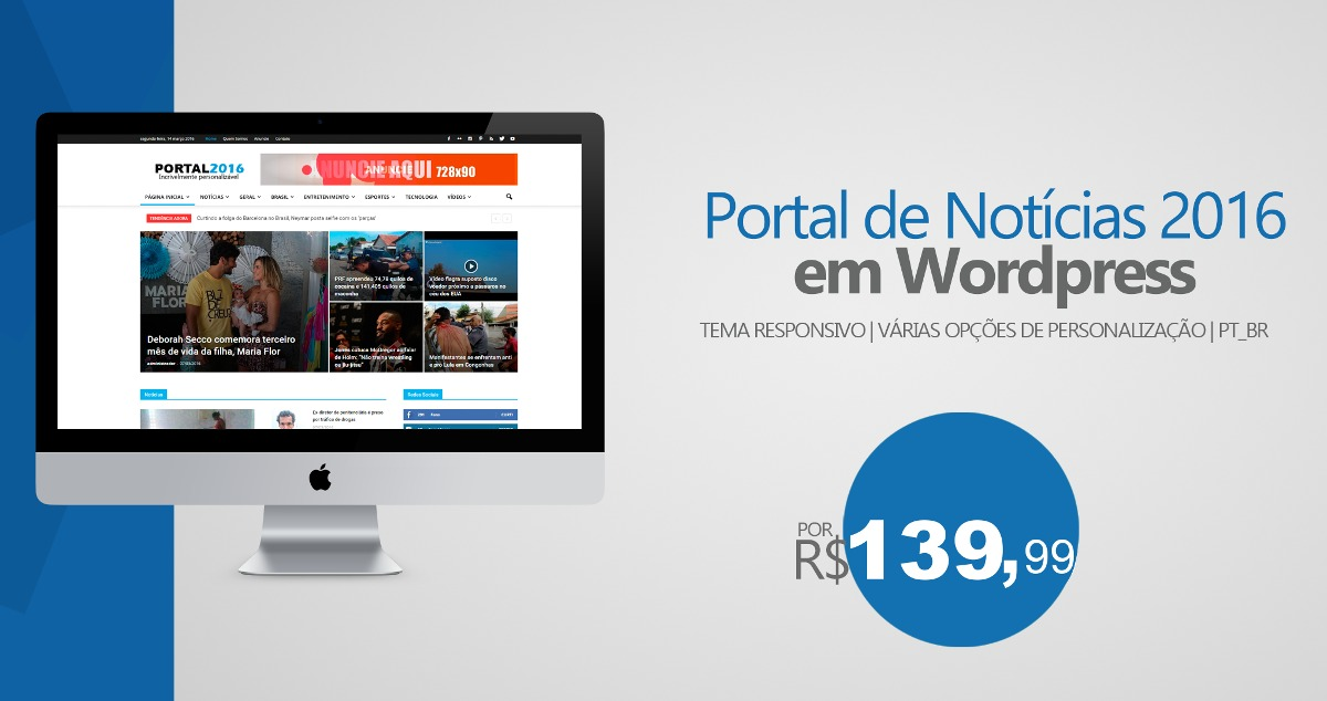 Tema Portal De Noticias 2017 Wordpress Responsivo Pt-br - R$ 39,99 ...