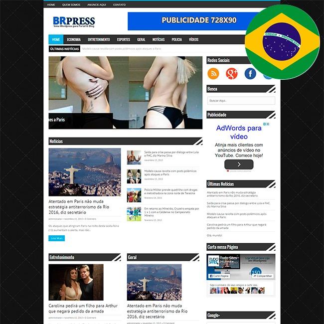 Tema Portal De Notícias Brpres Wordpress + Hospedagem Grátis - R$ 19 ...
