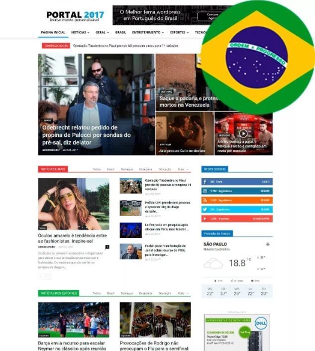 Tema Portal De Notícias Wordpress 2017 Pt Br - R$ 28,40 em Mercado Livre