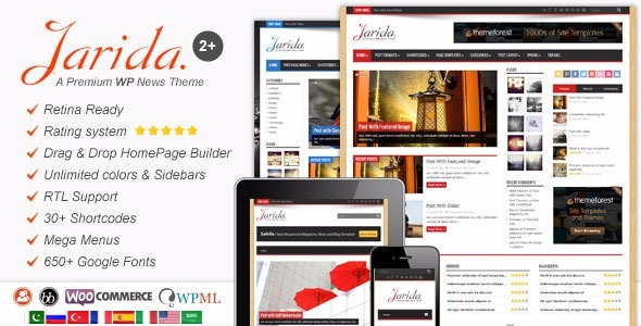 Tema Wordpress Jarida - Responsivo Wordpress News, Revista, - R$ 49 ...