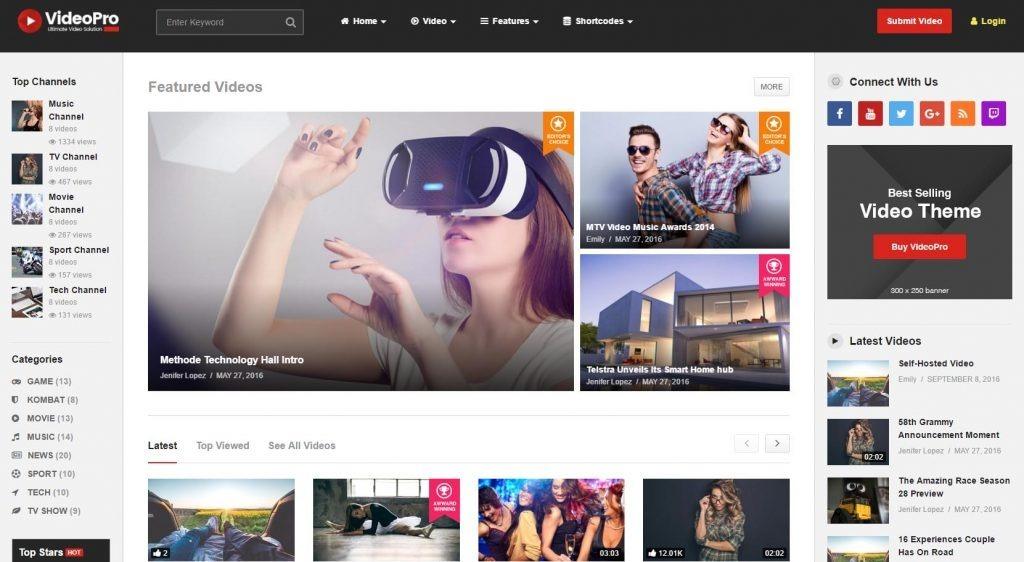 Tema Wordpress Para Sites De Vídeos Estilo Youtube + Brindes - R$ 87 ...