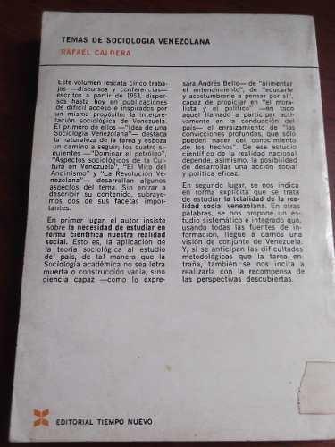 Temas De Sociologia Venezolana Rafael Caldera Tiempo Nuevo - Bs  2 187,82