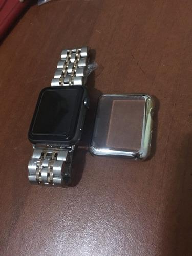 temperado con marco para apple watch 38, 40,42, 44 mm