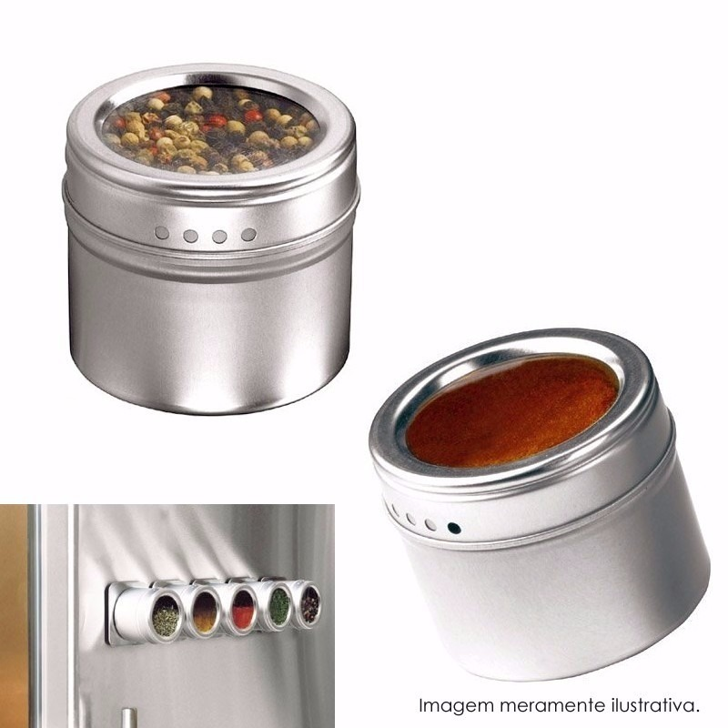 Porta condimento tempero saleiro inox magn tico im 4 for O que e porta condimentos