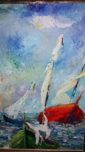tempestade com barcos  oleo s/ tela  espatulado  30x50cm