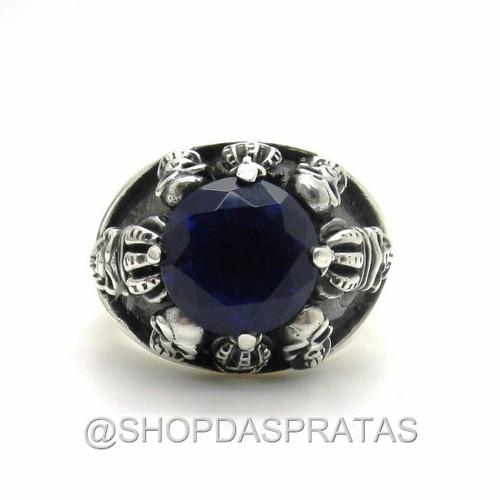 templario anel prata 950 medieval coroa caveira pedra 2776.4