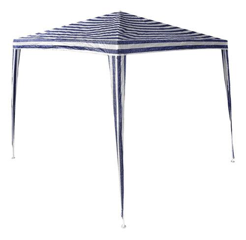 tenda gazebo 3x3m desmontável listrada azul e branca belfix