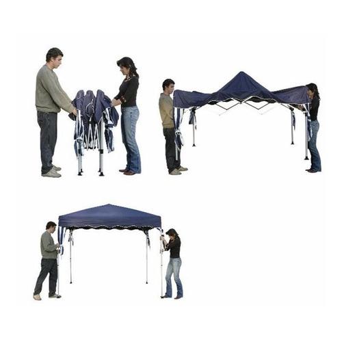 tenda gazebo dobrável sanfonada 3 x 3 m azul alumínio belfix