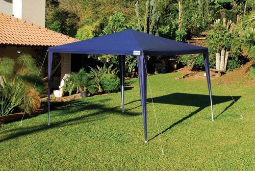 tenda praia gazebo azul brasil camping base 3x3 mor