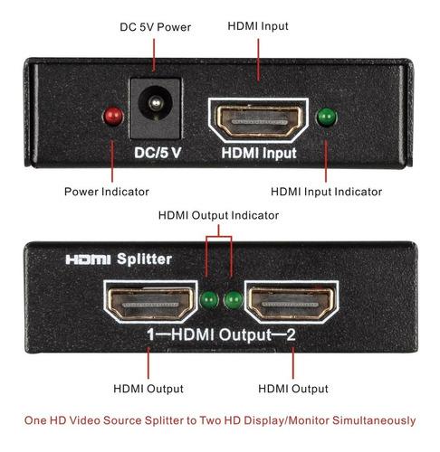 tendak 1x2 hdmi splitter 1 en 2 salidas 2 puertos amplificad