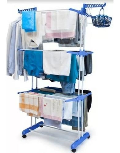 tendedero 3 niveles para tender ropa perchero base c/ ruedas