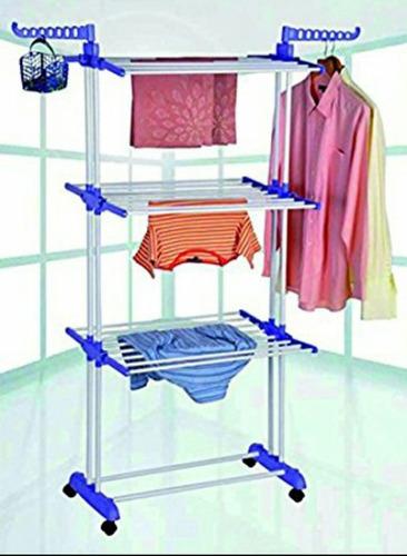 tendedero de ropa plegable 3 niveles  gancho colgar ruedas