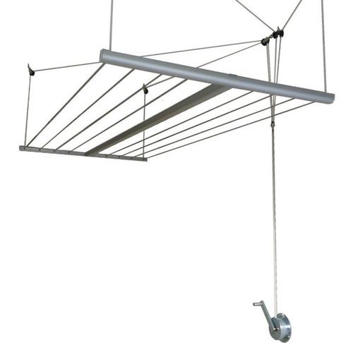 tendedero tender colgante techo aluminio manivela seca ropa levadizo c/ malacate reduce peso - abaco