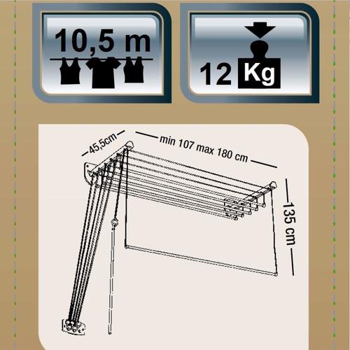 tendedero tender pared colgante techo 1,1 a 1,8m gimi italia