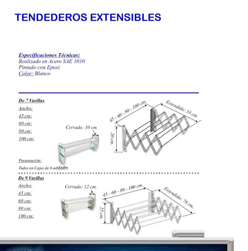 tender extensible 7 varillas x 80 cm