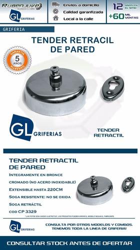 tender retractil de pared griferia hydros resistente cromado