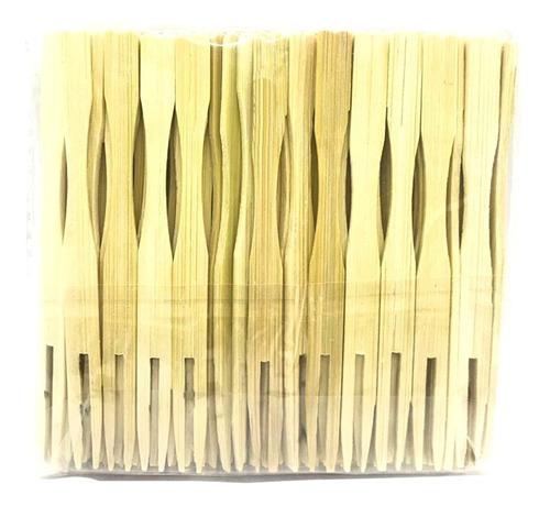 tenedores de bambú ecológicos 10cm pack x 100 und