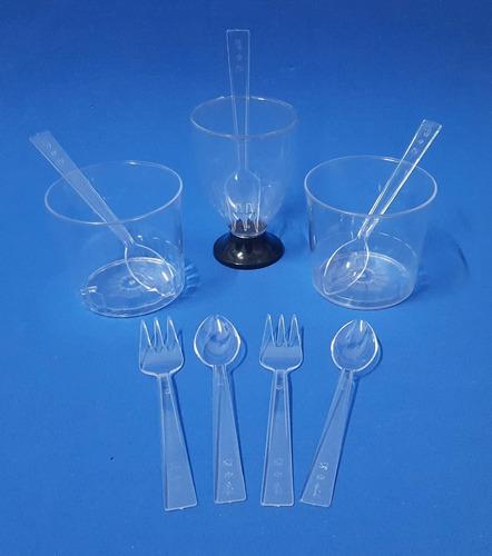 tenedores plásticos descartables negro/cristal (x 100 unid)