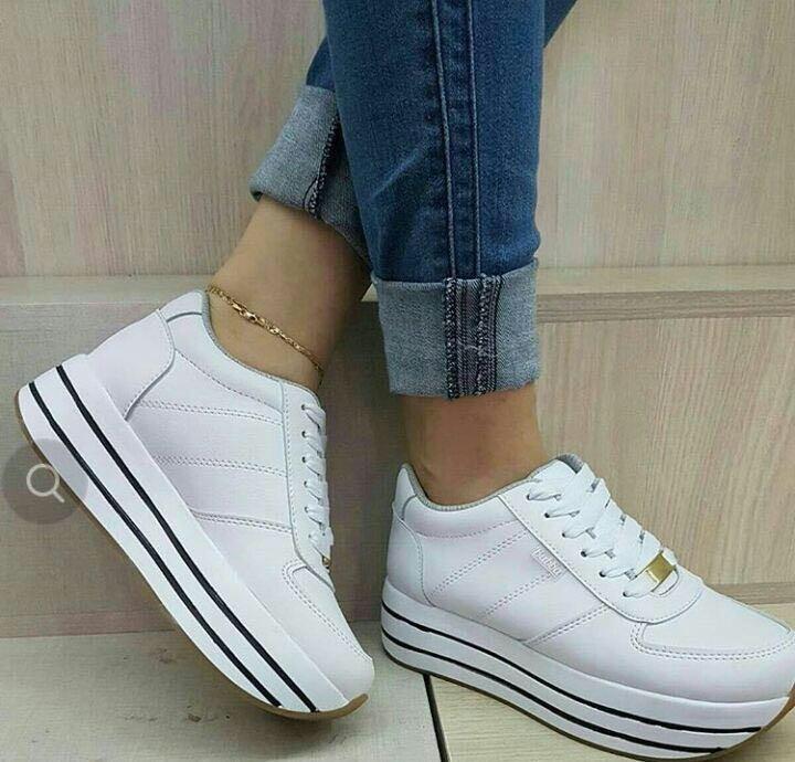 Teni Zapatos Blancos Doble Piso Suela Alta Dama Moda Mujer ... d98cc44f32b7