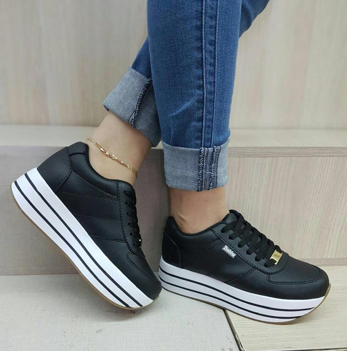ff52939382 teni zapatos negros doble piso suela alta dama moda mujer. Cargando zoom.