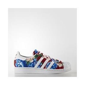 Adidas Superstar Con Flores Azules - Flores Imagenes