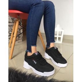 fbc8d756 Zapatos Fila Mujer Talla 35 Al 40 Color Negro Y Suela Blanca - Tenis ...
