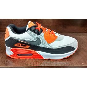 fe9d4e1eea0 Tenis Nike Air Max 90 Cinza E Laranja Nº37 Ao 43 Original