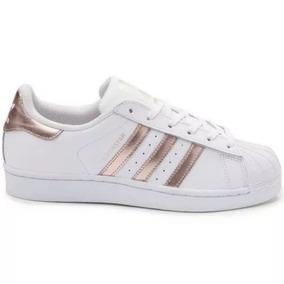 a936e35927a Tenis Adidas Superstar Branco E Dourado Original - Calçados