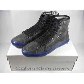 2444de838da95 Tênis Couro Calvin Klein Clubman Cano Alto  Couro Legítimo