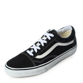 8d818f2e00 Tenis Vans Old Skool Canvas Black True White Negro Talla 25