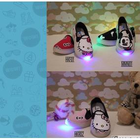ead6f1cb4ff4e Tenis Luminosos Led Alpargata Mickey Mouse Y Hello Kitty