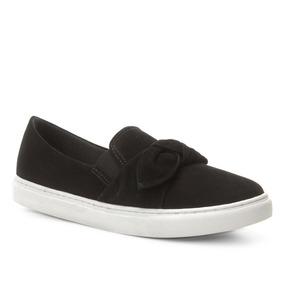 cf78d1d483b Slip On Couro Shoestock Laço Nobuck Feminino