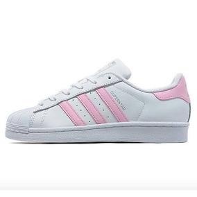 4dd8bfb9c6f63 Tenis adidas Superstar Blancos Rayas Rosas Pastel Originales