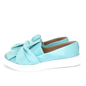 c011b13d416f3 Tenis Slip On Lacê Laço Nó Confortável Macio Azul Tiffany