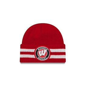 check out 8b19d c599e New Era Ncaa Wisconsin Badgers 2 Striped Remix Cuff Knit Bea