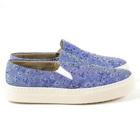 5c3265a70bb Tênis Sapatenis Feminino Casual Slip Tecido Floral Jeans