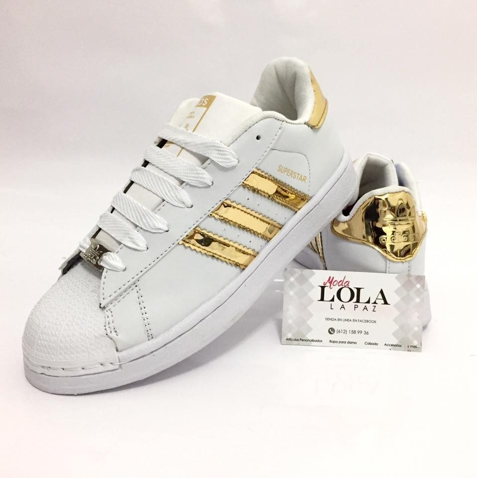 zapatos adidas blanco con dorado
