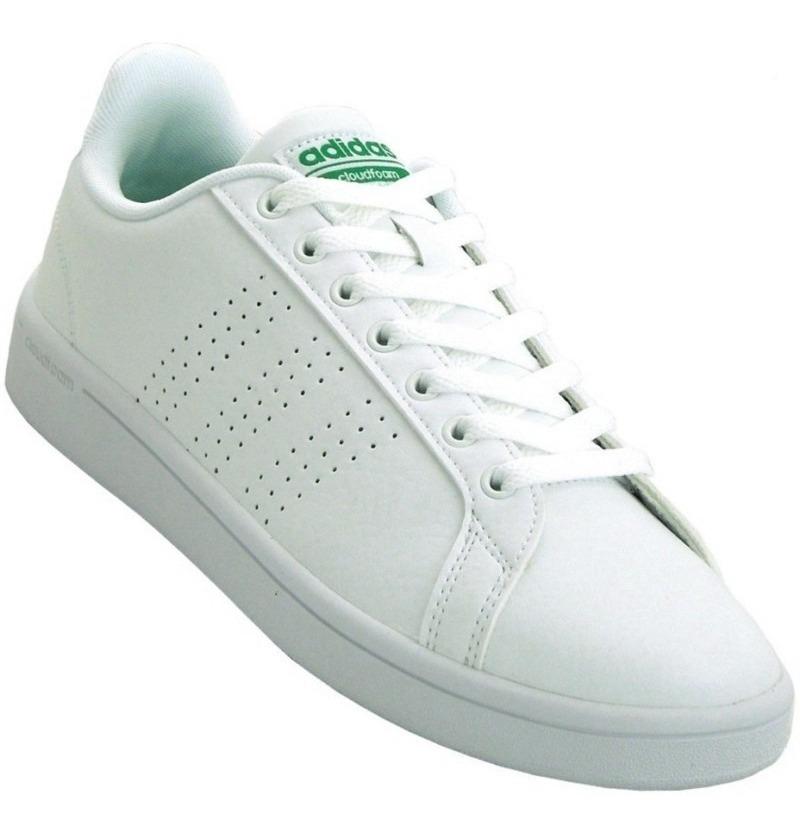 adidas Cloudfoam Advantage Clean White Green Footwear WhiteFootwear WhiteGreen AW3914