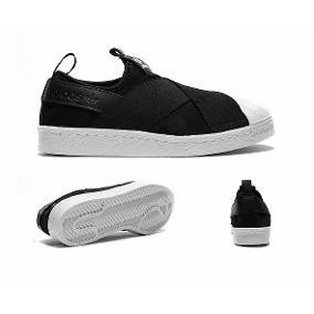 25a6d5674a Tenis adidas Com Elástico Slip On Super Star Original Import - R ...