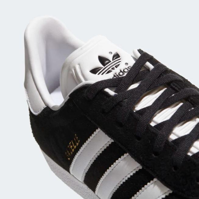 Tenis adidas Gazelle Negro Rayas Blancas Mujer Originales