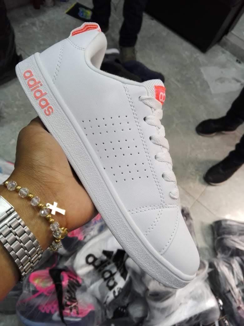 Tenis adidas Neo Advantage Blancos Con Naranja, Zapatillas.