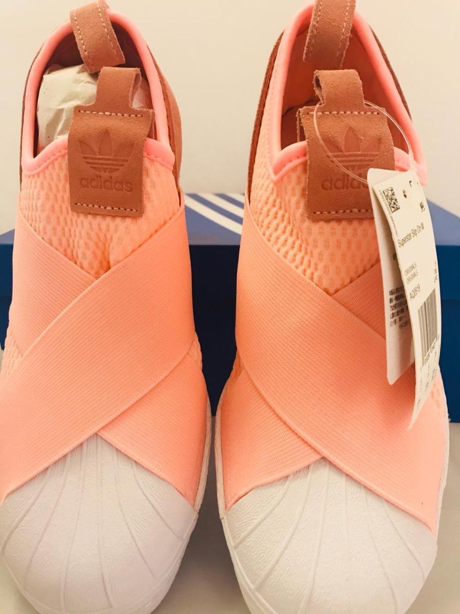 69a5763450 tenis adidas slip on rosa superstar salmao. Carregando zoom.