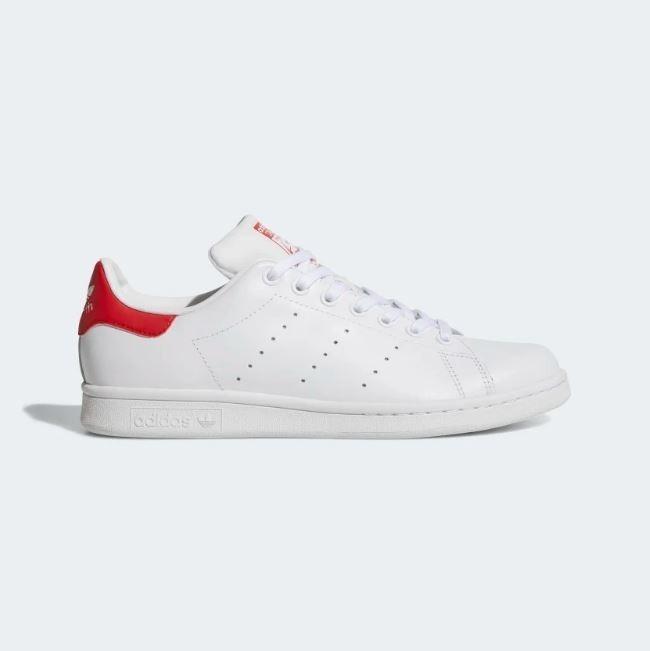 Tenis adidas Stan Smith Blanco Rojo Mujer Nuevos Originales
