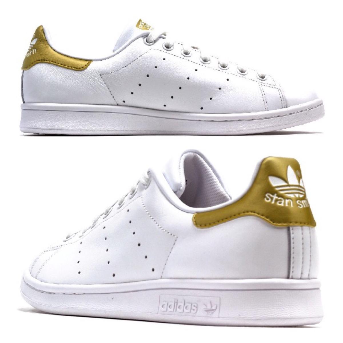 adidas stan smith blanco y dorado